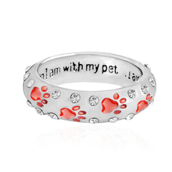 Rhinestone When I'm With My Pet Footprints Paw Ring