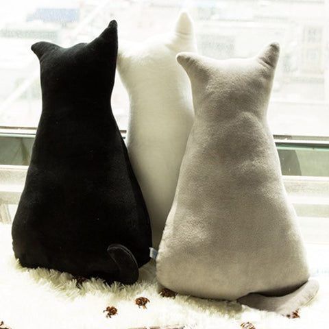 Cat Shaped Plush Throw Pillow