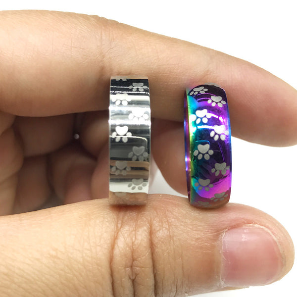 Rainbow Paw Memorial Ring: In Memory Of Your Kitty