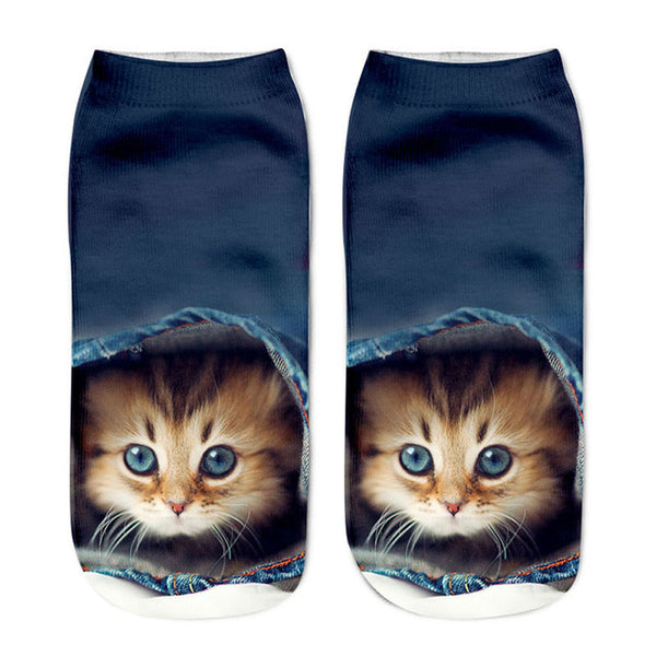 3D Cat Print Women's Ankle Socks