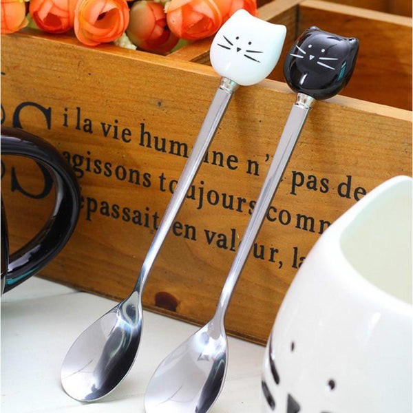 Black & White Stainless Steel Cat Spoon