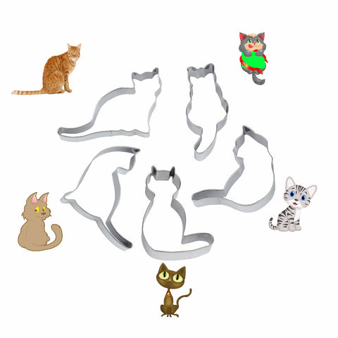 5 Pieces Set of Cat Shaped Cookie Cutter Molds