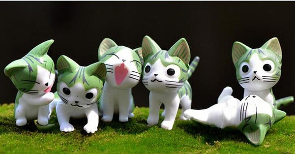 Miniature Home Decorative Anime Cats 6 Pieces