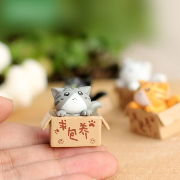 Miniature Garden In A Box Decorative Cat