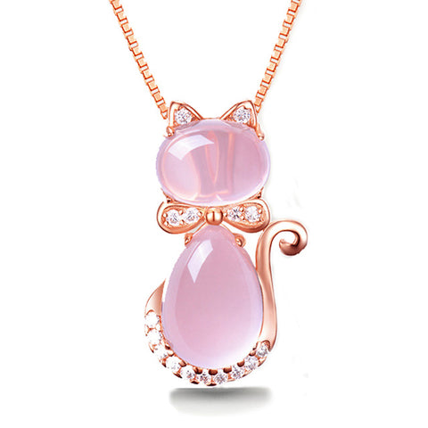 Rose Quartz Gold Plated Rhinestone Cat Necklace