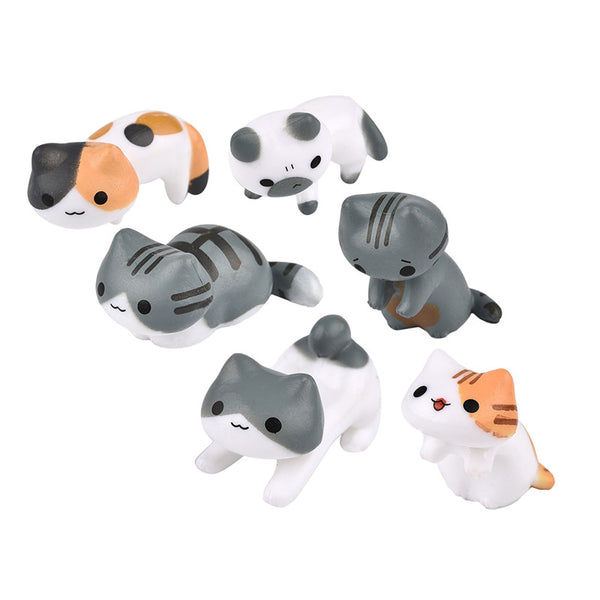 Miniature Fairy Garden Decorative Cats 6 Pieces