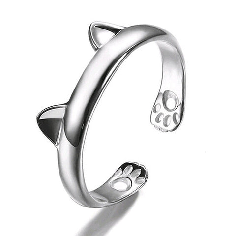 Silver Plated Cat Ear and Paws Ring