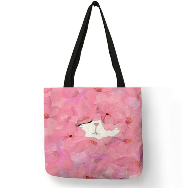 Hand Painted Print Watercolor Cat Tote Bag