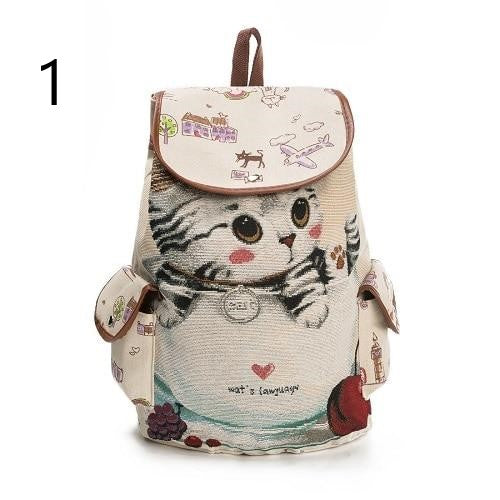 Casual Cat Printed School Backpack