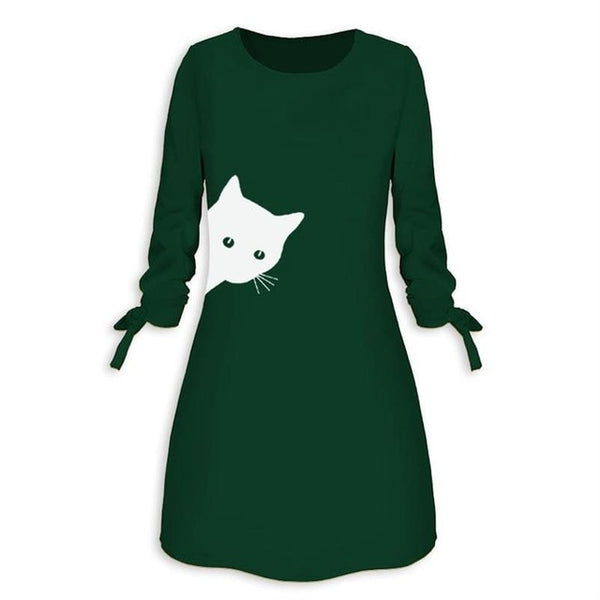 Sneaky Cat Printed Women's Dress