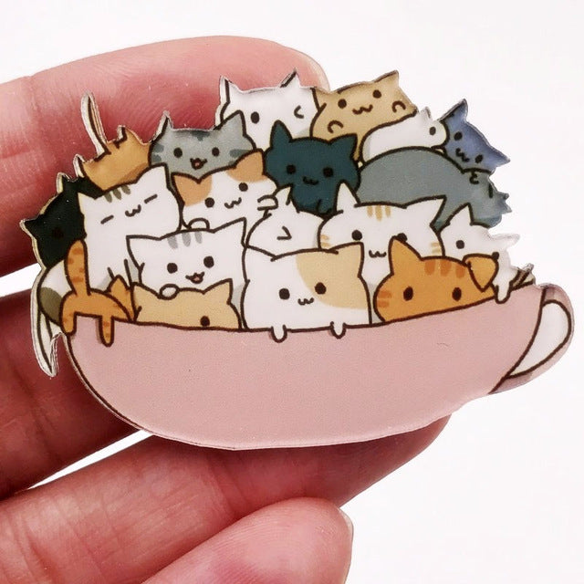 Stacked Cartoon Cat Cup Brooch Pin