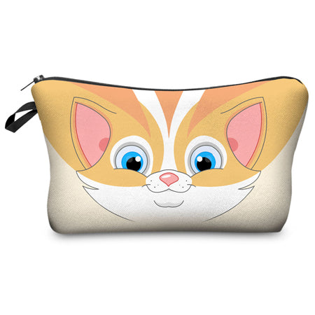 Cute Cat Printed Cosmetic Organizer Pouch