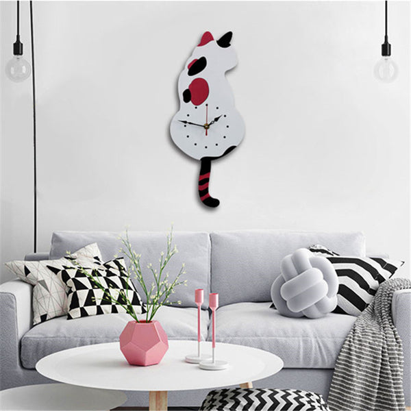 Cat Tail Wagging Hanging Wall Clock