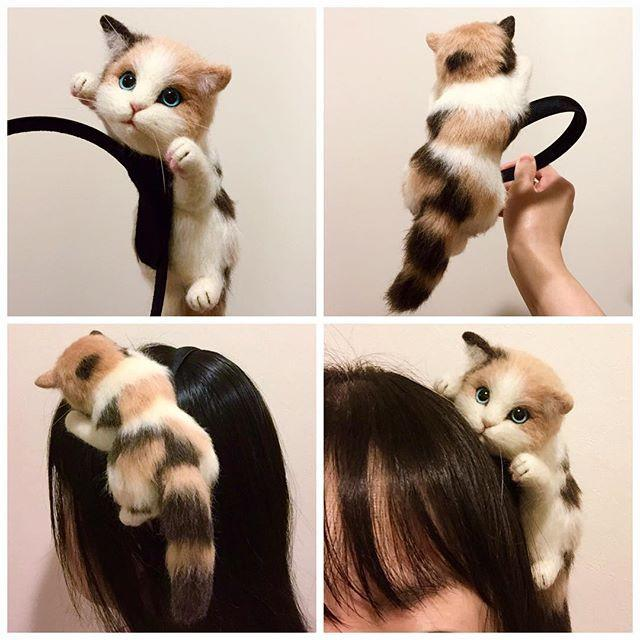Kawaii Cat Hanging On Head Hairband