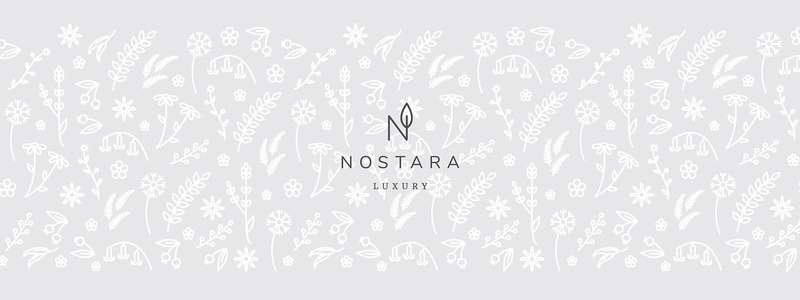 Nostara Home Fragrance motif banner with logo