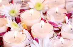 Nostara brand image tealights with flowers