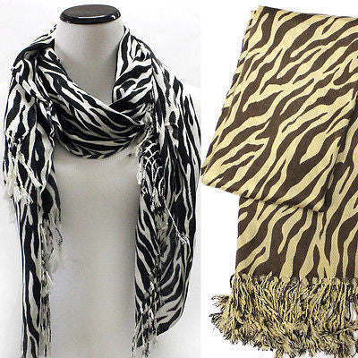 NEW Women Animal Zebra Leopard Print Pashmina Scarf Wrap Poncho Shawl Cape Gift