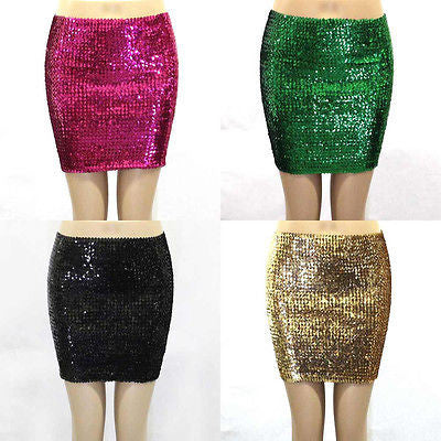 NEW SEXY FULL SEQUIN SKIRT SPARKLING METALLIC WIDE ELASTIC MEDIUM CLUBWEAR PARTY