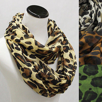 New Lady Long Leopard Print Infinity cheetah Loop Scarf Wrap Shawl Gift Scarves