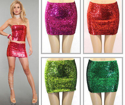 SEXY LADY FULL SEQUIN SKIRT TUBE TOP METALLIC WIDE ELASTIC MINI CLUBWEAR PARTY