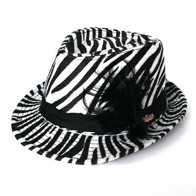 New Sexy Women Fedora Hat Black & White Zebra Animal Prints With Band Feather