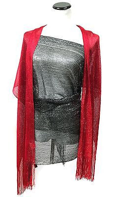 Glitter Sparkle Sequin Style Shawl Wedding Party Club Evening Scarf Wrap Fringe