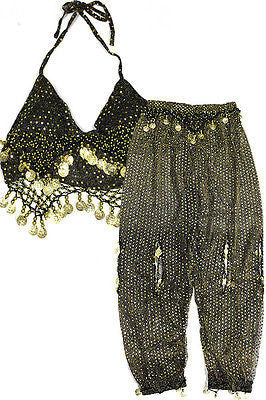 Women Belly dance Costume set tribal Top Bra Pants trousers harem Silver Coins