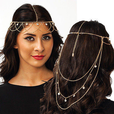 WOMEN GOLD HEAD Fringe Hair Band piece METAL SIDE WAVES LONG CHAIN RHINESTONES