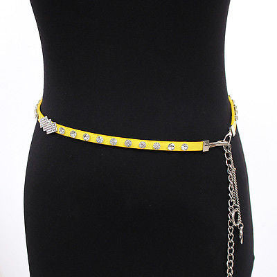 women Faux LEATHER Rhinestone Silver Hook Metal Chain Hip Waist Skinny Thin Belt