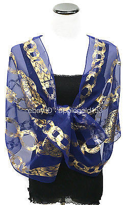 Bling Gold Chain Foil Printed Sparkle Glitter Shawl Long Scarf Wrap Festive