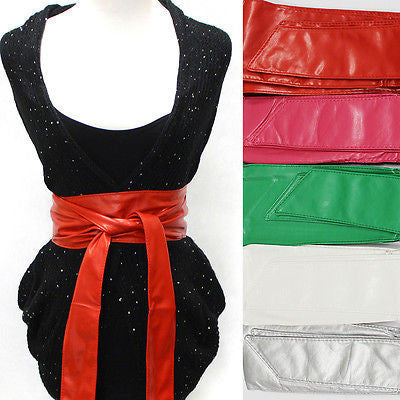 Sexy Faux Leather Tie Corset Wide Kimono Wrap Cinch Waistband Obi Bow Belt Long