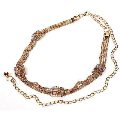 Women Bling Long Full Metal Chain Hip Waist Belt Gold Silver Rhinestone Circle