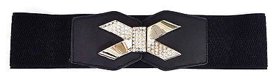 WOMEN ELASTIC BELT stretch Waist Silver Gold Metal Rhinestone Bowknot Wide Bling