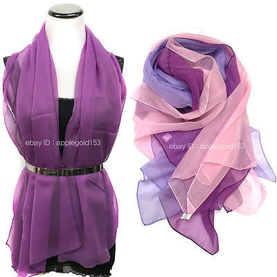 Women Fashion Solid Color CHIFFON Shawl Long Scarf Wrap Festive Prom Scarves