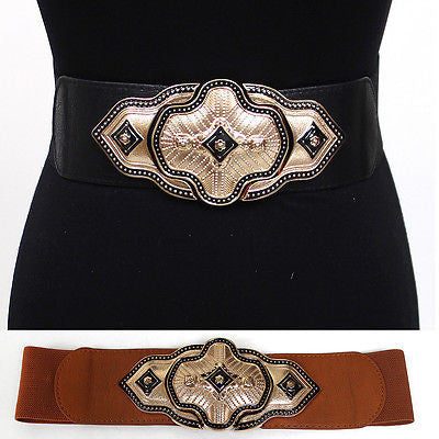 WOMEN Fashion ELASTIC Gold Metal BUCKLE Hook WAIST Band WIDE BELT Stretch Belts
