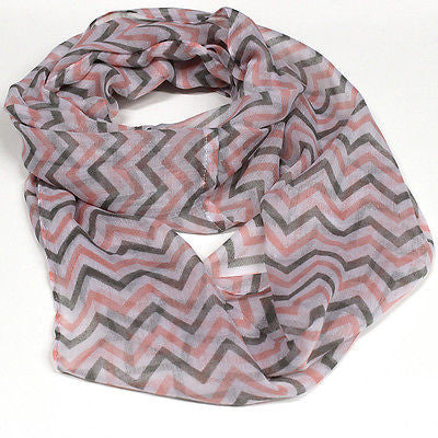 Women Chevron Infinity Zig Zag Chunk Circle Double Loop Scarf Wrap Long Black