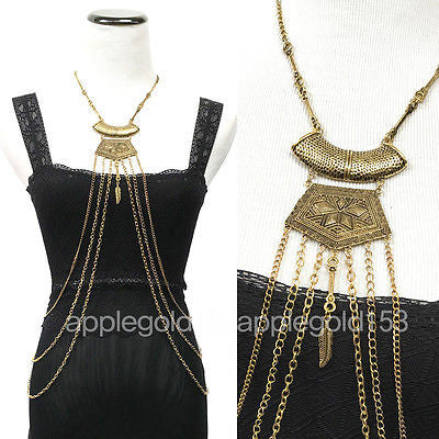 Women Body Metal Chain JEWELRY Necklace Bikini Vintage Western Fashion Antique