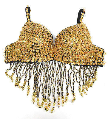 Sexy Clubwear Rave GoGo Sequin Beaded Belly Dancer Bra Samba Costume Top 36B