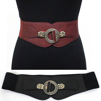 Women Elastic Waist Wide Belt Stretch PU Leather Vintage Gold Metal Hook Circle