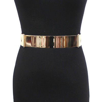 Bling Women Wide Metal Gold Plate Mirror Waist Elastic Stretch Belt Dress S M L