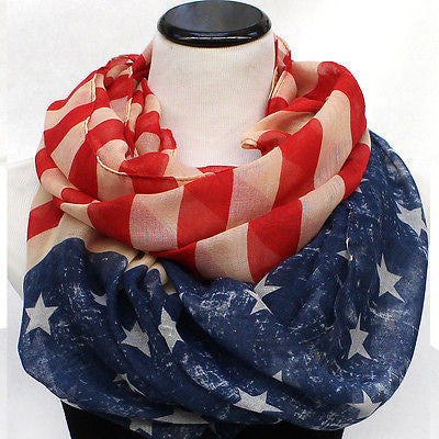 Cowl Infinity Patriotic USA American Flag Vintage Scarf Scarves Wrap Loop Circle