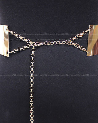 New Women Full Wide Bling Mirror Plate Waist Metal Chain Belt Prom Wedding Dress