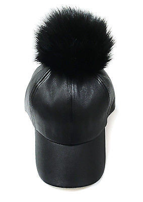 Unisex Men Women FUR JUMBO POM POM FAUX LEATHER BASEBALL CAP Hat Adjustable