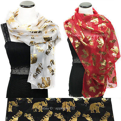 Bling Gold Elephant Foil Printed Sparkle Glitter Shawl Long Scarf Wrap Festive