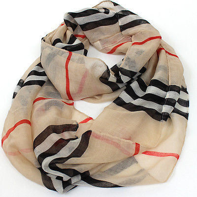*USA Seller* Scarf Scarves Wrap Infinitiy Cowl Plaid Stripes Check Circle Loops