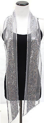 Sequin Trim Skinny Scarf or Tie Belt Baded Shawl Wedding Party Gift Evening Wrap
