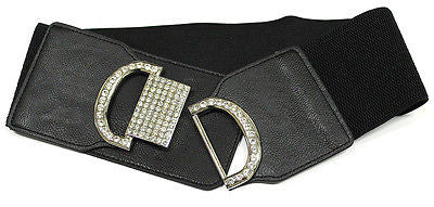 Fashion Women Black Elastic Waist Belt Rhinestone Wide Stretch Waistband Silver