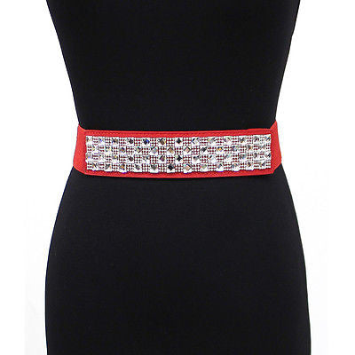 Bling WOMEN ELASTIC Cinch BELT stretch Waistband Rhinestone BUCKLE Wedding Dress