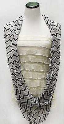 Women Chevron Infinity Zig Zag Chunk Circle Fashion Scarf Wrap Block Chunk Black