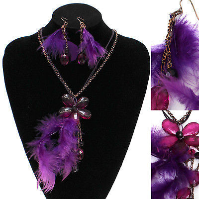 Vintage Fashion Purple beads Crystal Feather Pendant Chain Necklace Earring set